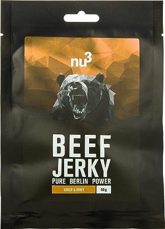 nu3 Beef Jerky con miel y jengibre - 3 x 50g - Increíble 58% de proteína - Carne seca baja en grasa (3,1%) y carbohidratos (1,5%) - Marinada con ...