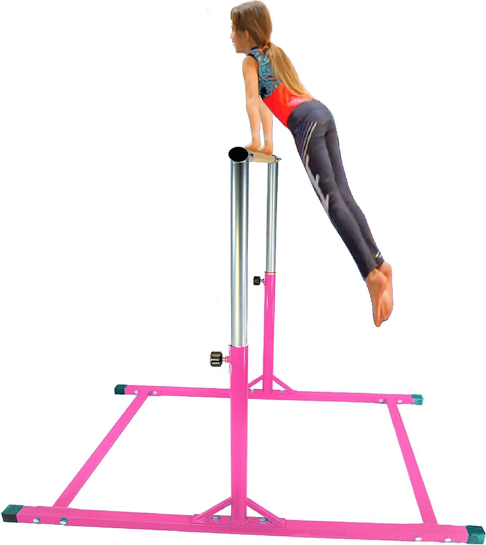 X-Factor 5 Ft Horizontal Bar Athletic Teens Adjustable Gymnastics Children's & Junior Training Kip Bars Pink