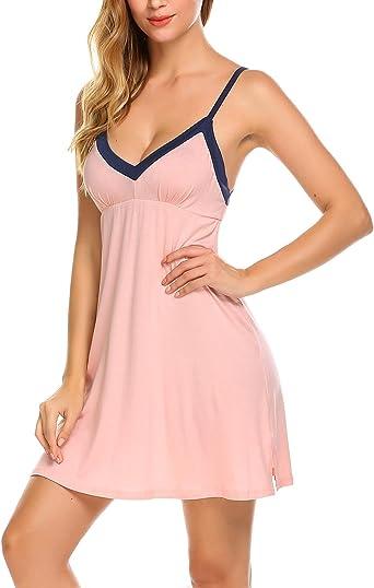 Swiftt Camisón Para Mujer Pijama Tirantes Con Cuello V Color Puro ...