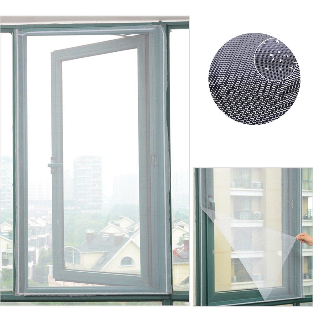 magnetisch Fliegengitter fü r Fenster, Moskitonetz unsichtbar und geschnitten mit Klettverschluss-Insektenschutz 150 x 130 cm Ndier