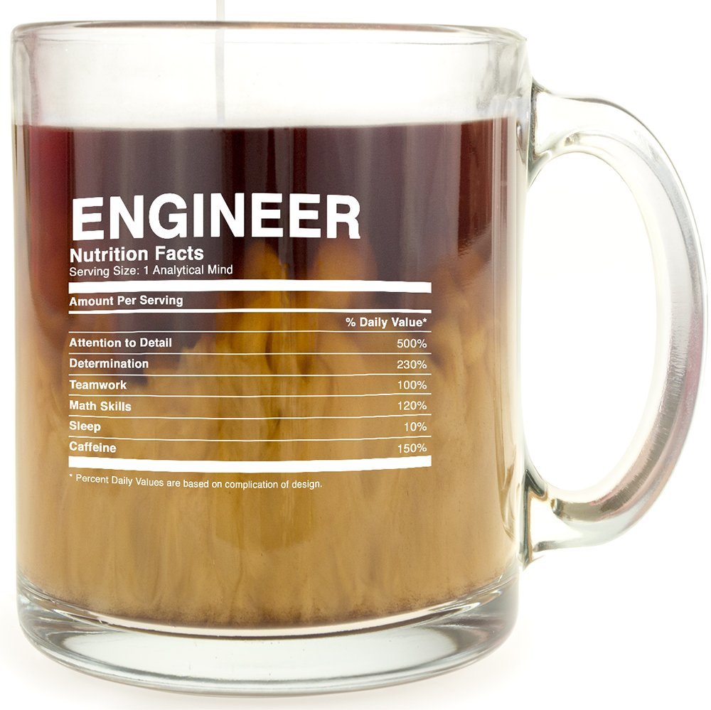 Engineer Nutrition Facts - Glass Coffee Mug - Makes a Great Gift!