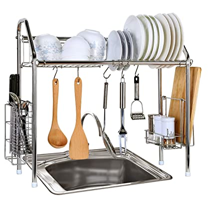 Amazoncom 1208s Stainless Steel Over Sink Drying Rack Dish Drainer