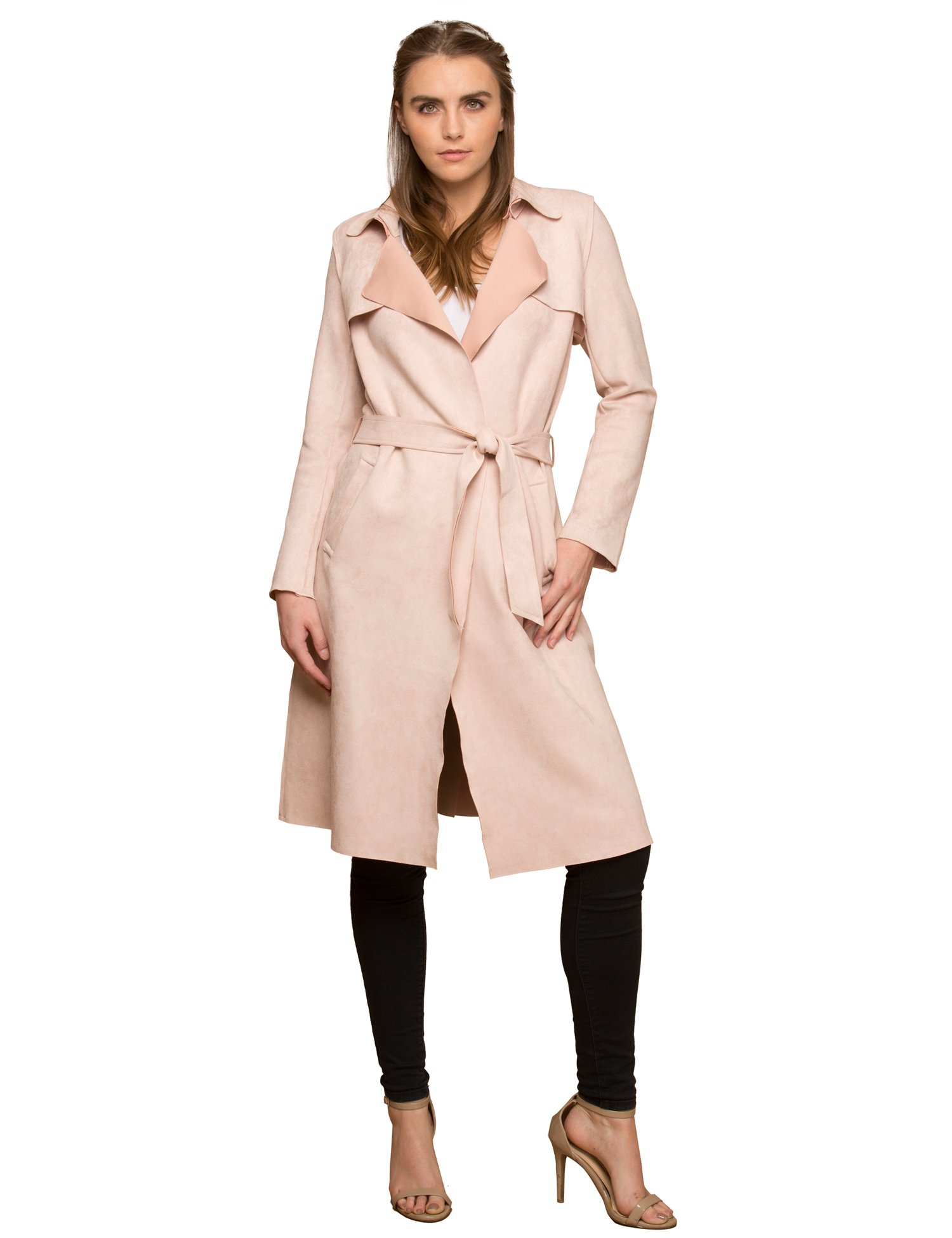 Lock and Love WJC1613 Womens Suede Coats Long Duster Jacket Trench Coat with Belt XS Blush