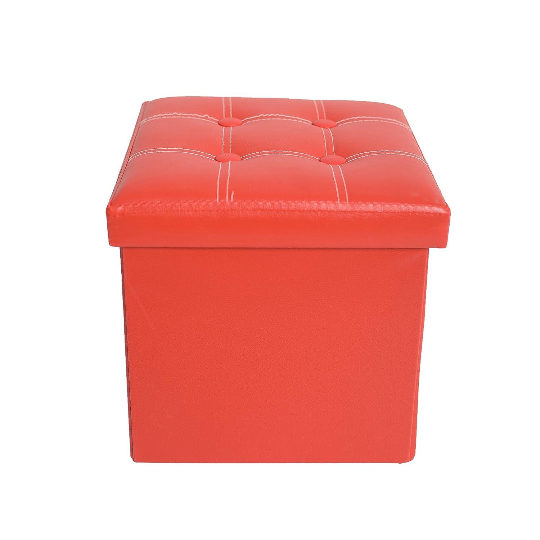 Rebecca Mobili Pouf Contenitore Poggiapiedi Seduta Cubo Rosso Legno MDF Similpelle Arredamento Moderno (Cod. RE4900) Rebecca Srl