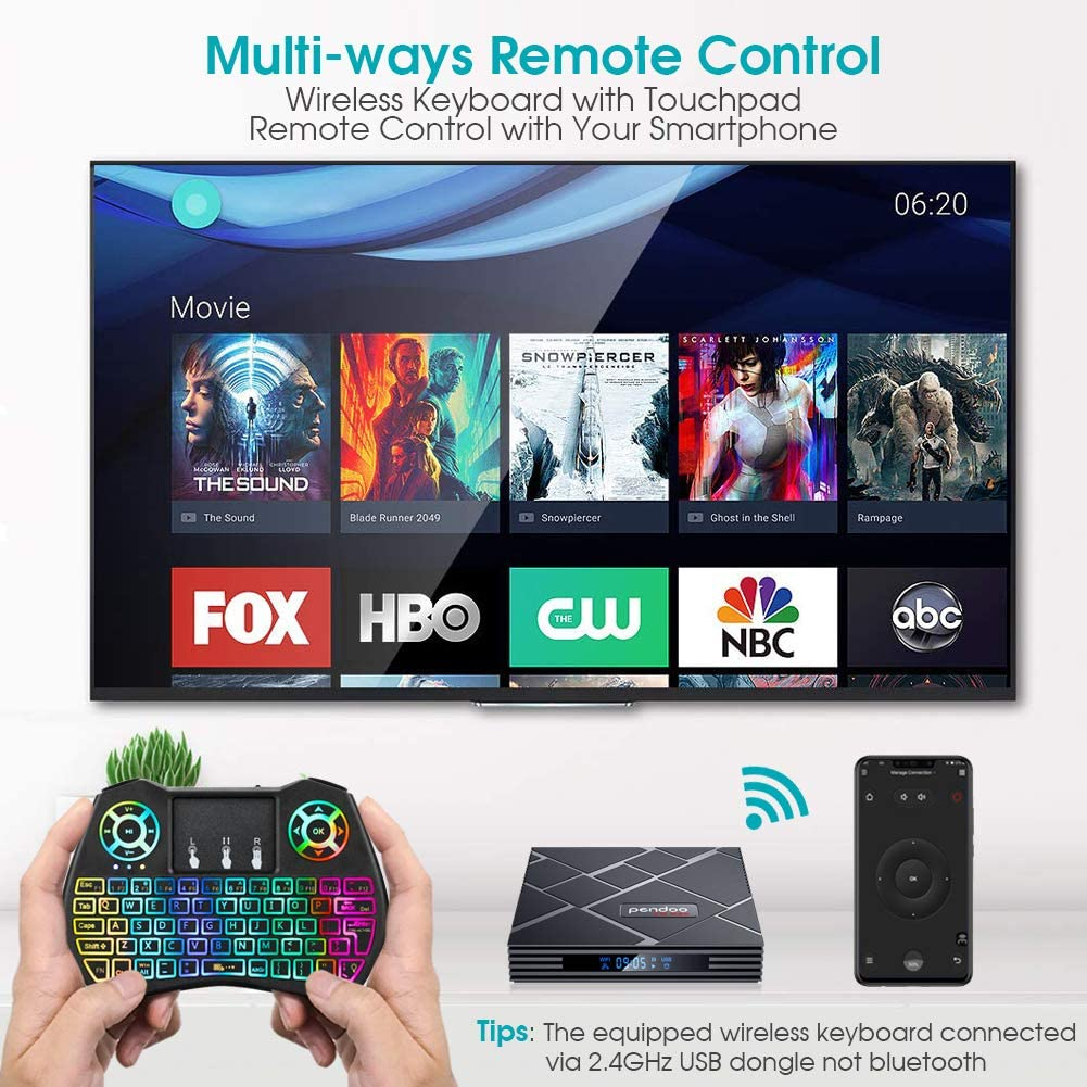 Android 9.0 TV Box 4 GB RAM 64 GB ROM, Pendoo X10 MAX Android TV ...