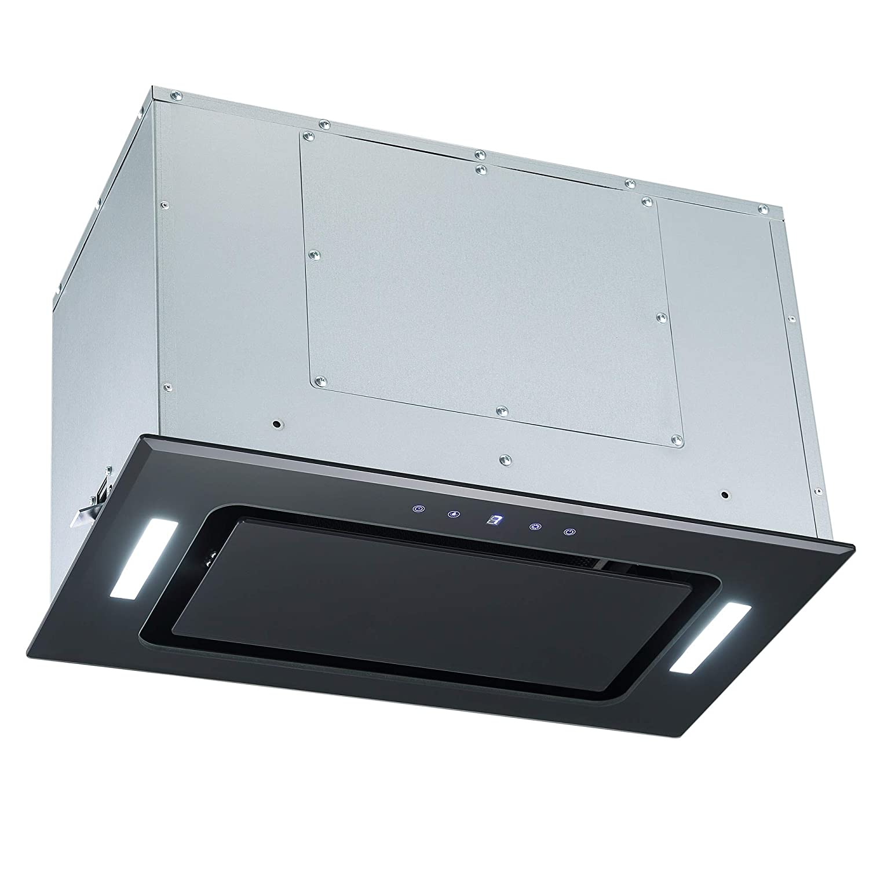 Cookology BUGL520BK Black Glass 52cm Integrated Canopy Cooker Hood