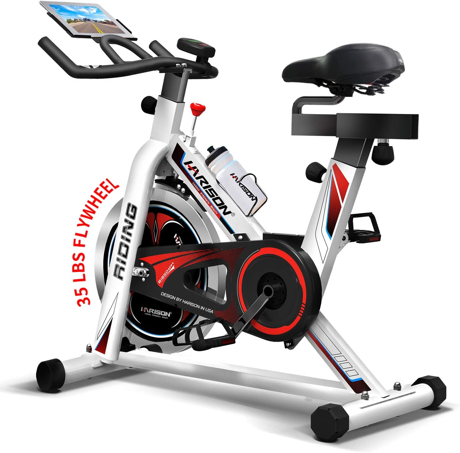 HARISON Exercise Spin Bike Indoor Cycling Bike Belt Drive with iPad Holder 35LBS Flywheel for Home Gym Cardio Fitness Workout (HR-1850 pro)