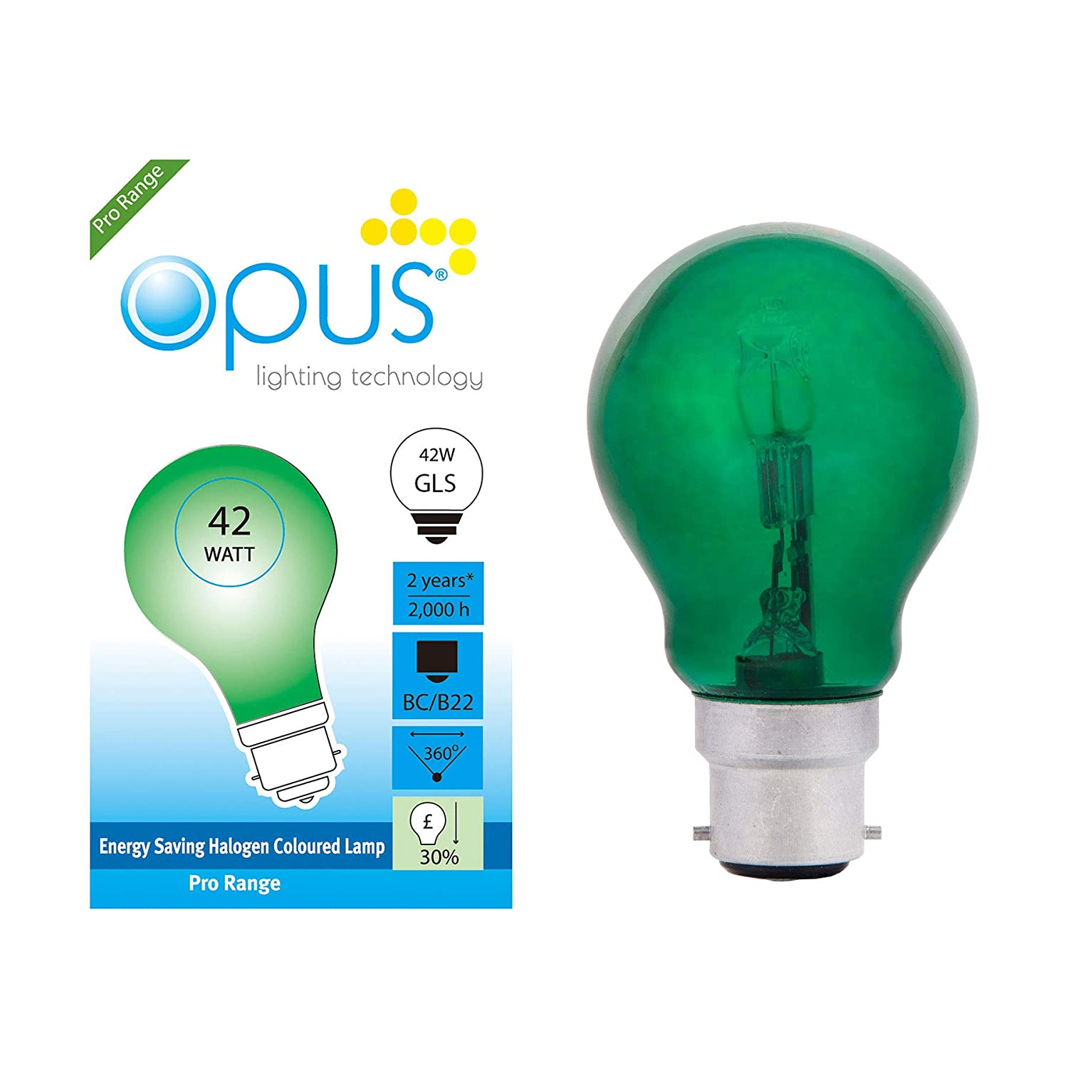 5 x Opus 42 watt = 60 watt Green Coloured GLS Halogen Light Bulbs BC B22 Dimmable Lamps [Energy Class D] Opus Lighting Technology