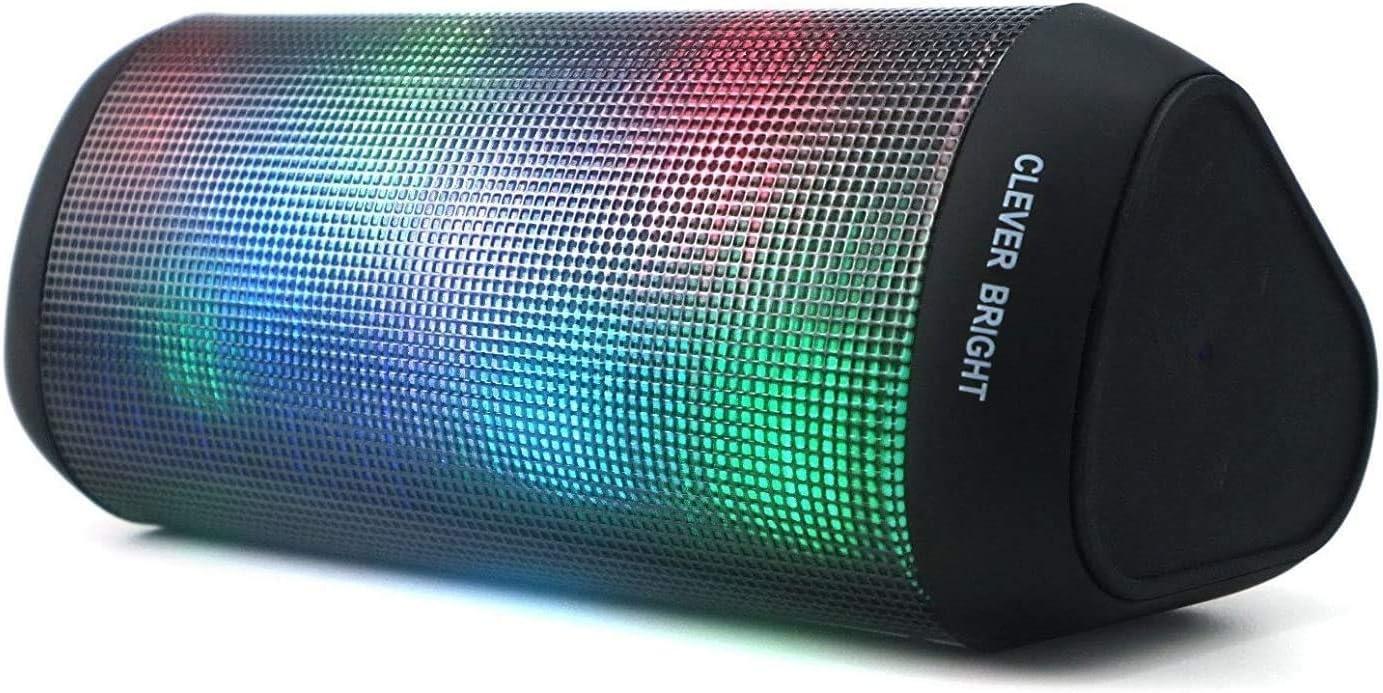 Altavoz portátil Bluetooth con Luces de 7 Modos Recargable USB Altavoces Bluetooth Potentes, Altavoz inalámbrico Sonido Estéreo 360°TWS. Efecto de Triple Bajo Potente