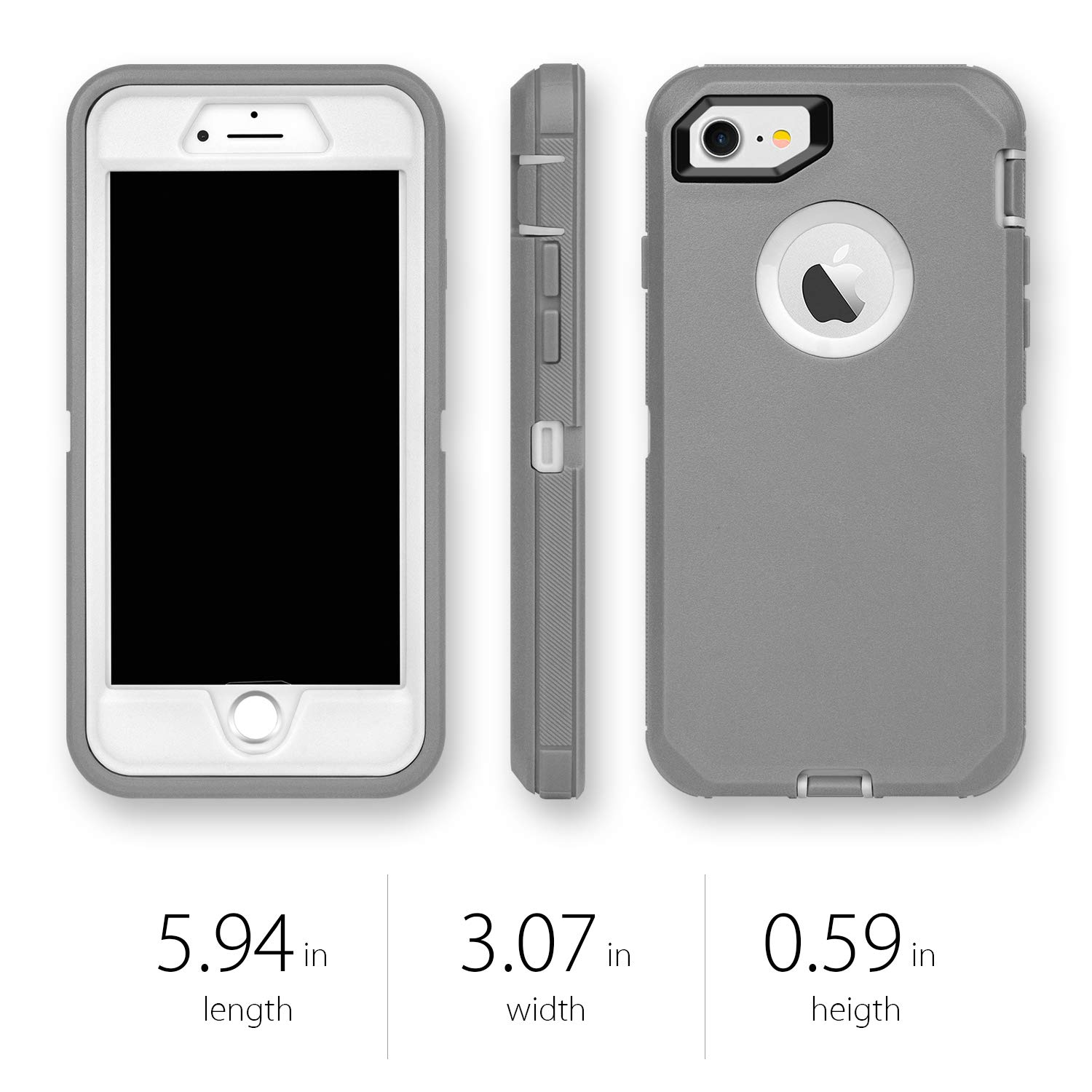 Heavy Duty Shockproof Series Case for iPhone 7//8 with Built-in Screen Protector Without Belt Clip iPhone 8 Case MAXCURY iPhone 7 Defender Case 4.7 Black