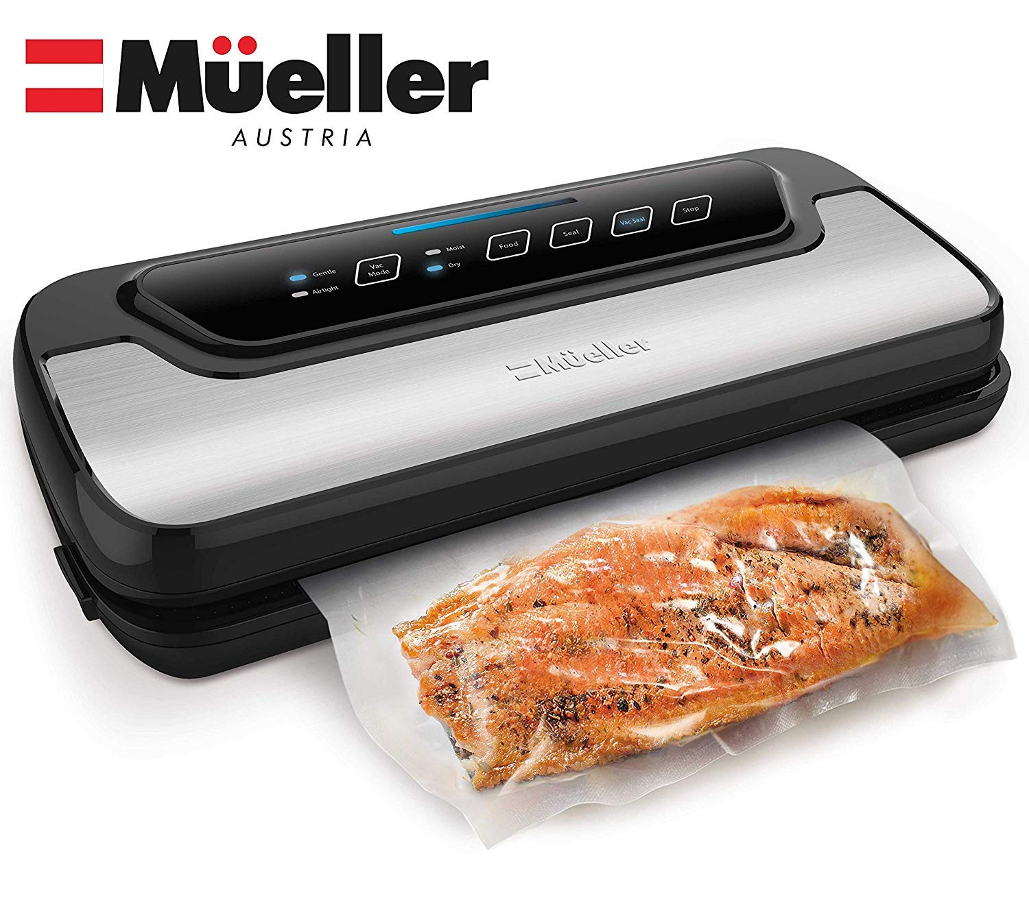 Vacuum Sealer Machine By Mueller | Automatic Vacuum Air Sealing System For Food Preservation w/Starter Kit | Compact Design | Lab Tested | Dry & Moist Food Modes | Led Indicator Lights by Mueller Austria