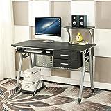 EBS Stile Casa Ufficio Tavolo Moderno Semplice Workstation Scrivania per Computer Sliding Keyboard + 2 Drawers - Nero