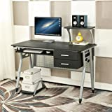 EBS Computer Home / Office Desk with Sliding Keyboard 2 Drawers Desktop Tray PC Table Workstation - 110 x 55 x 97 cm