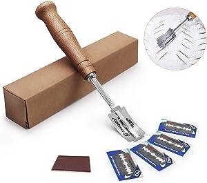 Generies Cuchillo para el Pan Cocido con 5 Cuchillas y Cubierta Protectora de Cuero para la Cocina de Pan para Hornear Bricolaje