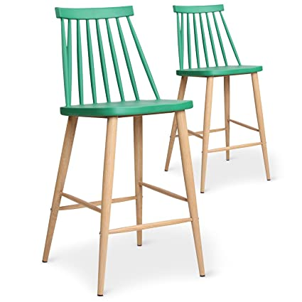 Lot De Chaises Scandinaves Bar Menzzo 2 Trouville Vert FK1Jlc