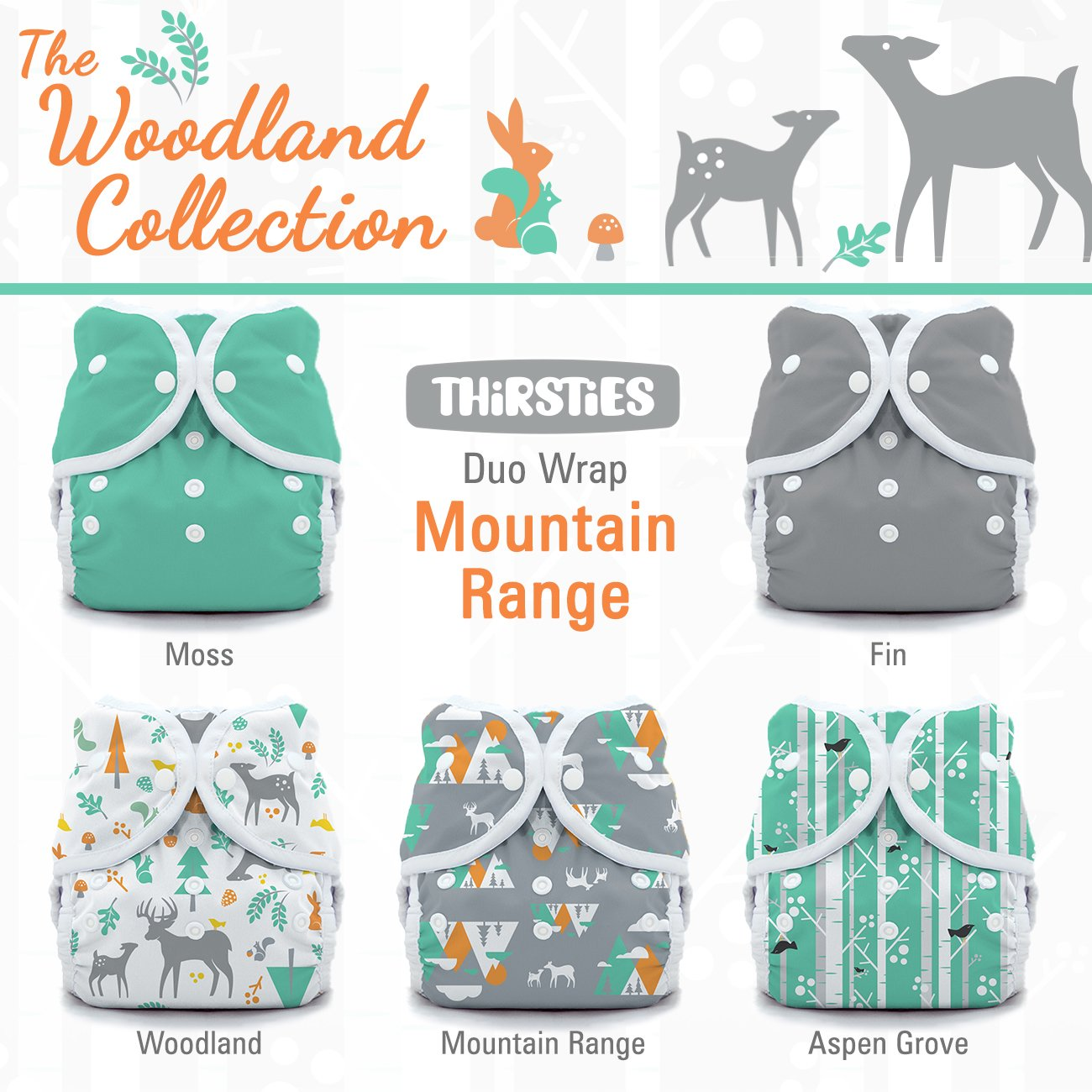 Thirsties Package, Snap Duo Wrap, Woodland Collection Moutain Range, Size 1