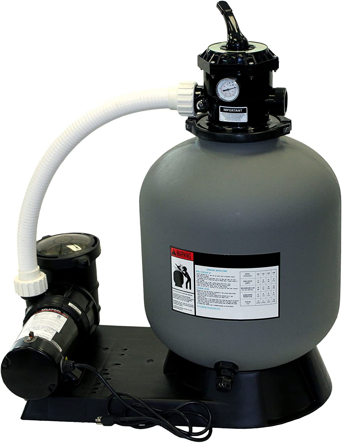 Rx Clear Radiant Complete Sand Filter System | for Inground Swimming Pool | Extreme Niagara 1 HP Pump | 24 Inch Tank | 220 Lb Sand Capacity | Up to 26,000 Gallons