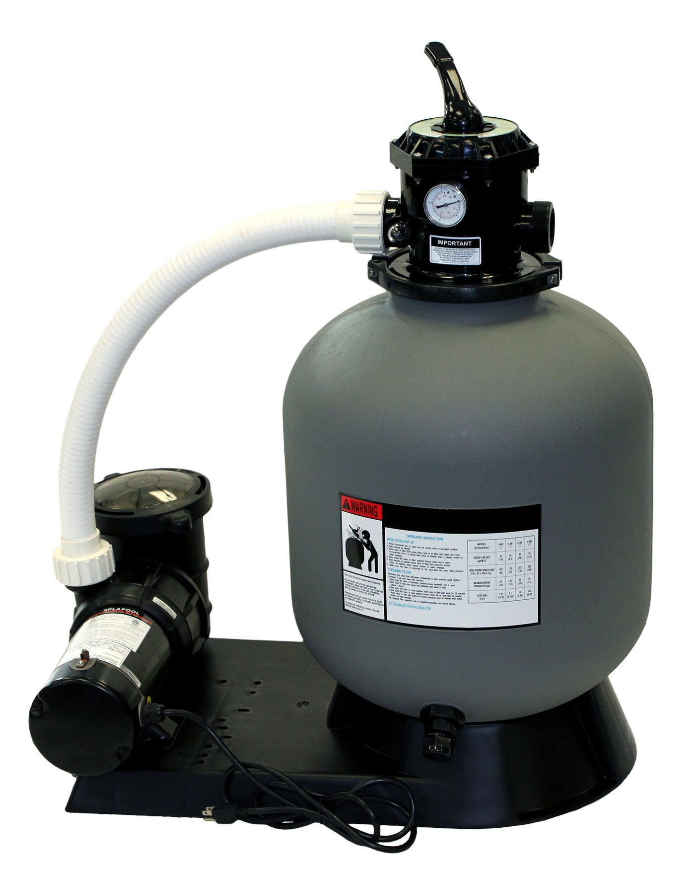 Blue Torrent Sand Filter System 16'' with a 1 HP Pump for Above Ground Swimming Pools by Blue Torrent