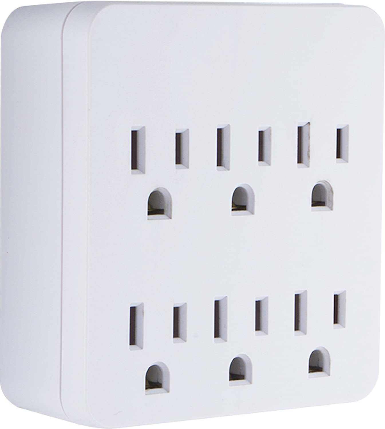 GE Pro Surge Protector with 6 Outlets, Wall Charger, Charging Station, 1020 Joules Protection Rating, Automatic Shutdown, Sleek Design, White, 36727