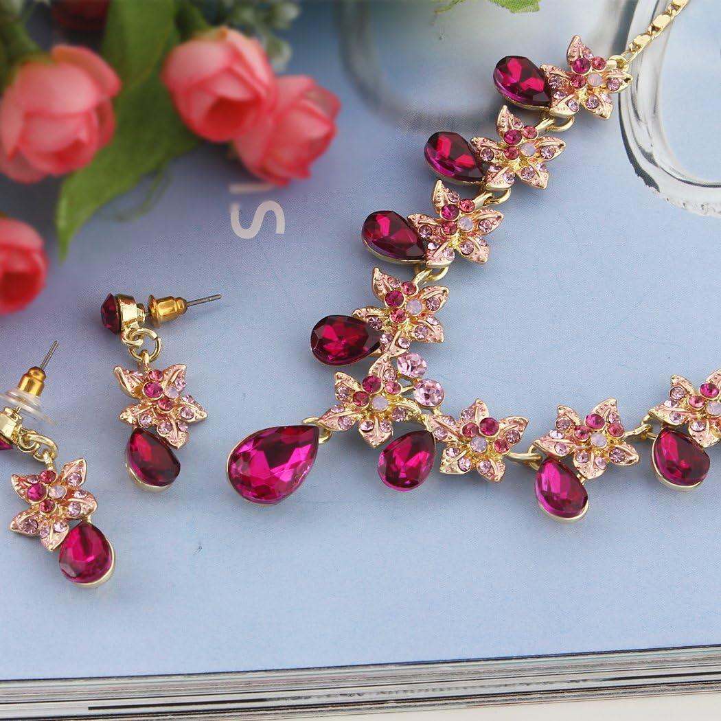 TENYE Cristal Autrichien Hibiscus Fleur Goutte dEau Collier+Boucles dOreilles Parures