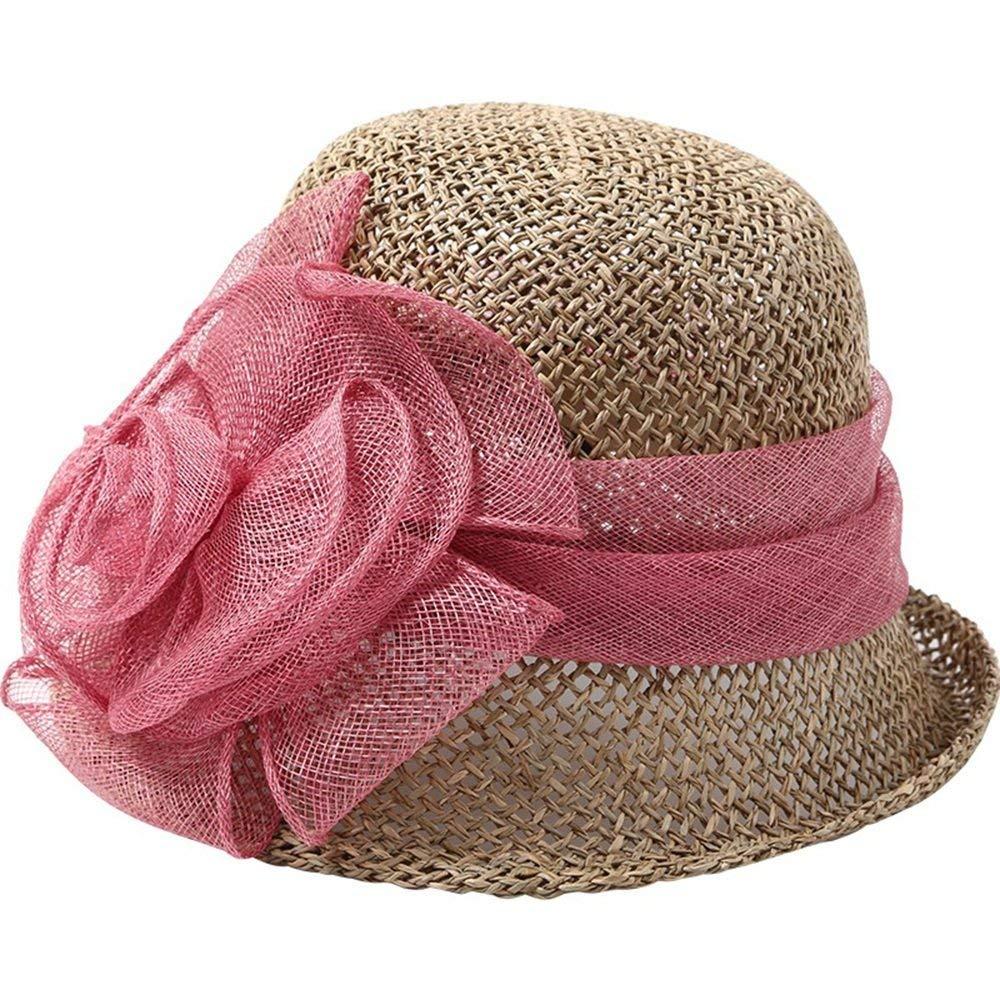 731cd85f22088 Yanfei Sombrero Hilo Flores Sombrero Paja Outdoor Sombrero Mujeres Playa  Sombrero Protección Solar Al Aire Libre Verano Casual Mujeres Beige Azul  Rojo ...