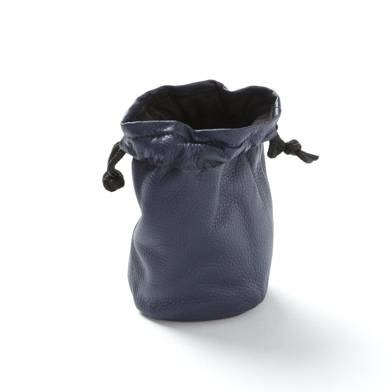 Small Navy Leather Drawstring Bag