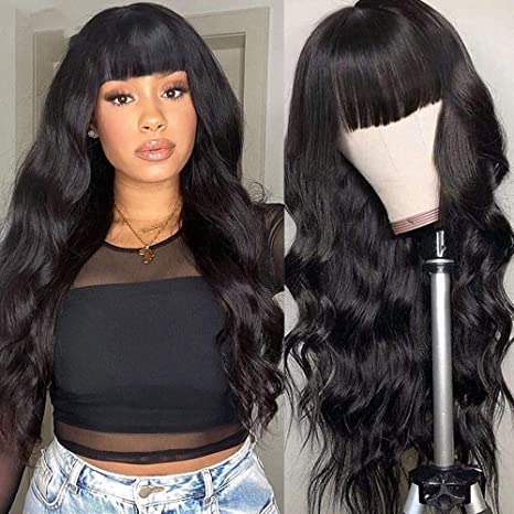 Full Lace Human Hair Wigs With Bangs Body Wave Lace Front Wig Brazilian Remy Human Hair Wigs For Black Women 14 Inch 130 Density Full Lace Wig Beauty Amazon Com