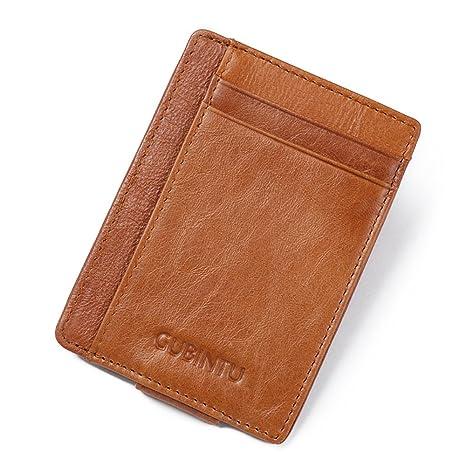 6c89b965807e5 Portemonnaie ONEGenug Geldbörse mit Geldklammer Leder Kreditkartenetui für  Herren Geldbeutel mit RFID-Blocker