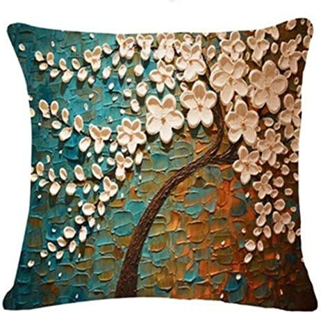 Fossrn Fundas de Cojines Almohada Vintage Floral Hojas Árboles Funda de Cojines para Sofa Jardin Cama Decorativo - 45x45 cm (01): Amazon.es: Hogar