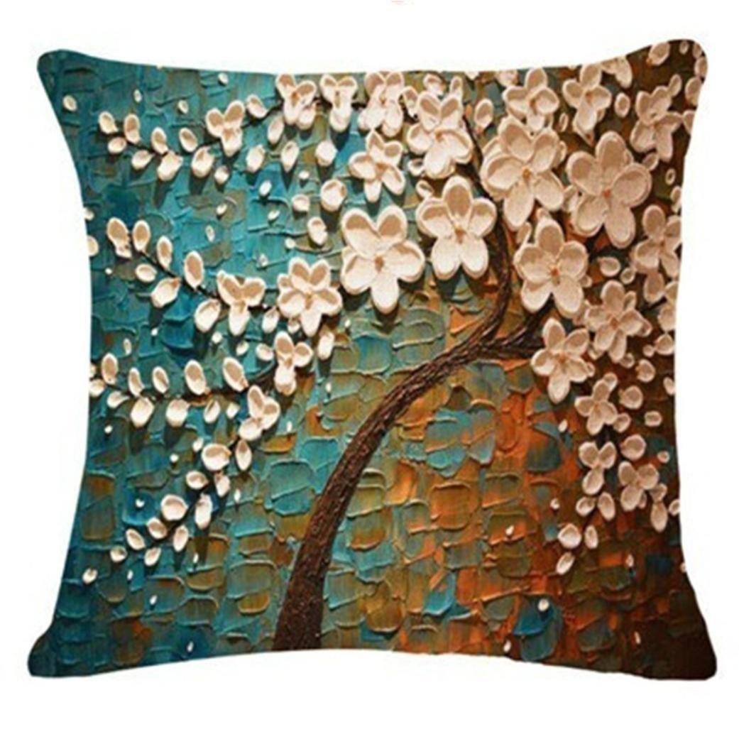 Fossrn Fundas de Cojines Almohada Vintage Floral Hojas Árboles Funda de Cojines para Sofa Jardin Cama Decorativo - 45x45 cm (06)