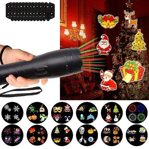 LTPAG Luces de Proyector Navidad y Linterna LED, 12 Modes Luce de Proyector de Navidad y Halloween, Luces de Fiesta Cumpleaños, Muro Decoración, ...