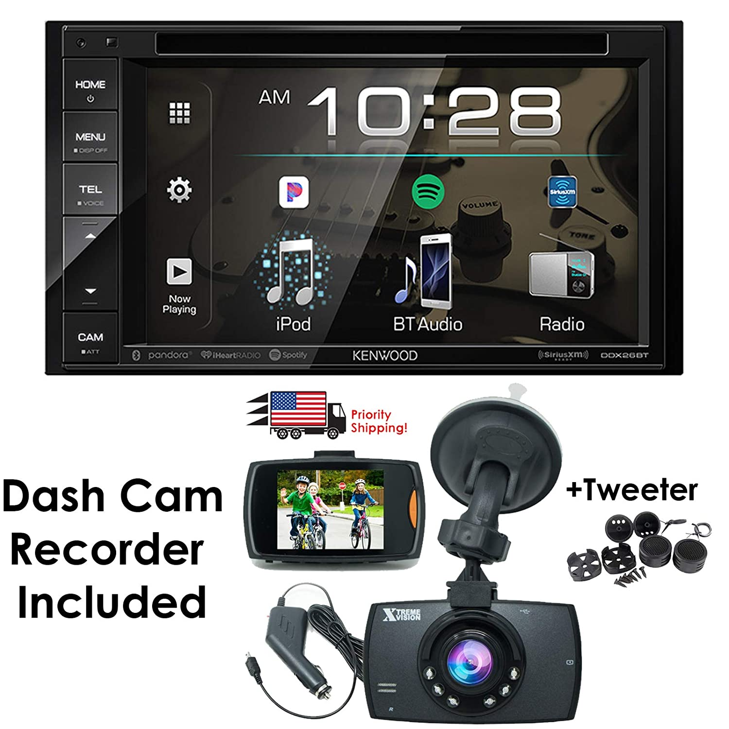 Amazon Com Package Deal Kenwood Ddx26bt 6 2 In Dash Dvd Bluetooth