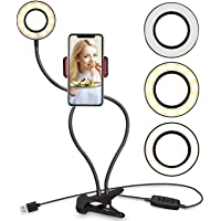 Selfie Ring Light with Cell Phone Holder Stand for Live Stream/Makeup LED Camera Lighting [3-Light Mode] [10-Level Brightness] with Flexible Arms Compatible with iPhone 8 7 6 Plus X Android