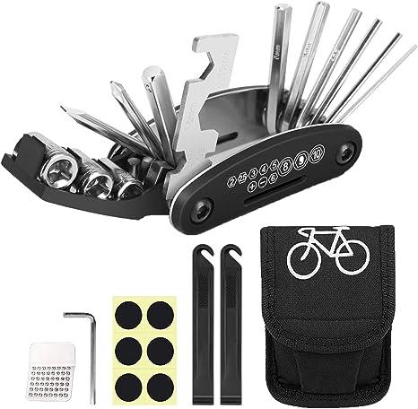 ECHG Kit de Herramientas para Bicicleta,16 en 1 Reparaci/ón de Pinchazos Bicicleta,Herramienta de Reparaci/ón Multifunci/ón para Bicicleta,con Kit de Parche y palancas para neum/áticos