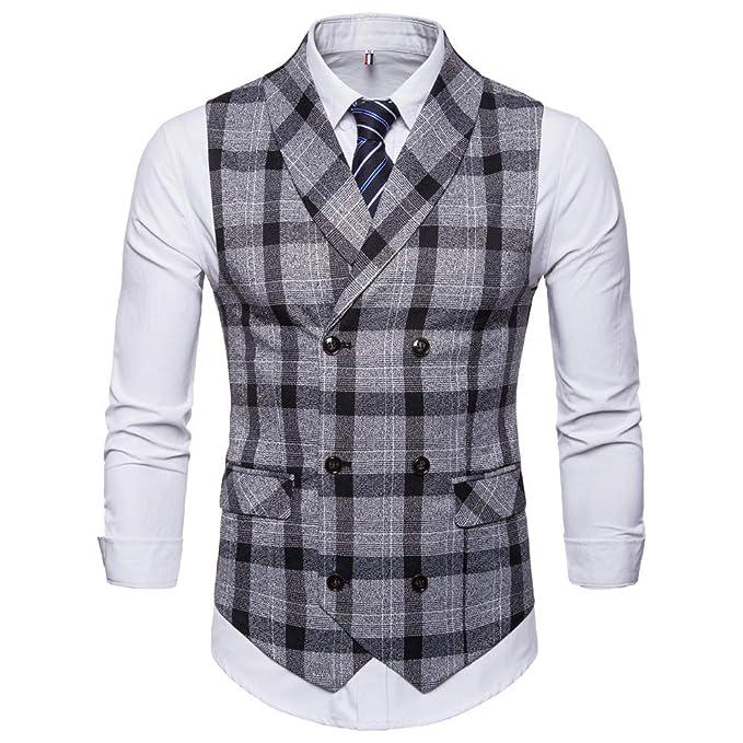 ec374abe61b20 MODOQO Men s Plaid Business Suit Vest Slim Fit Lapel Single Breasted  Waistcoat(Black