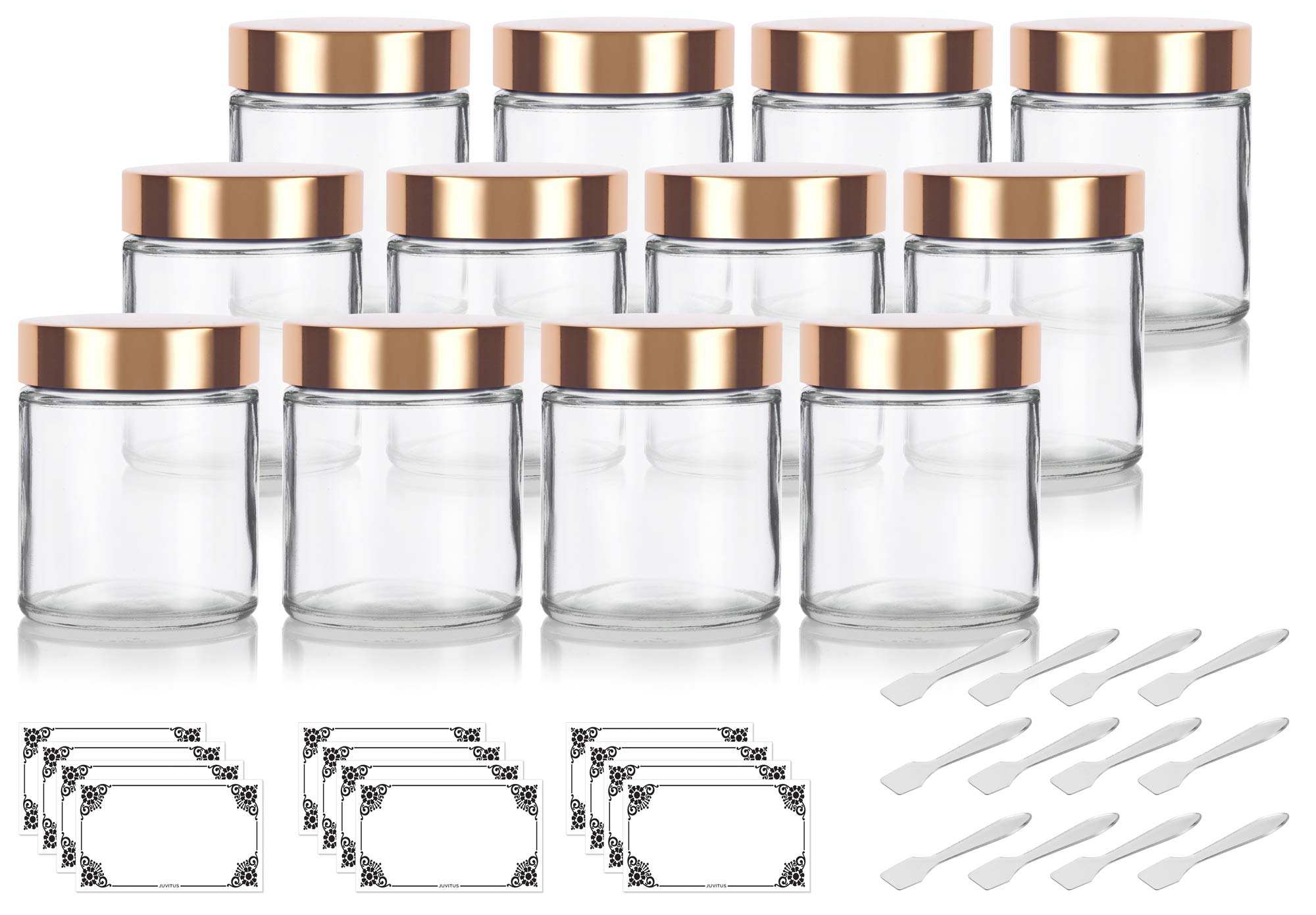 Clear Thick Glass Straight Sided Jar with Gold Metal Overshell Lid - 4 oz / 120 ml (12 pack) + Spatulas and Labels