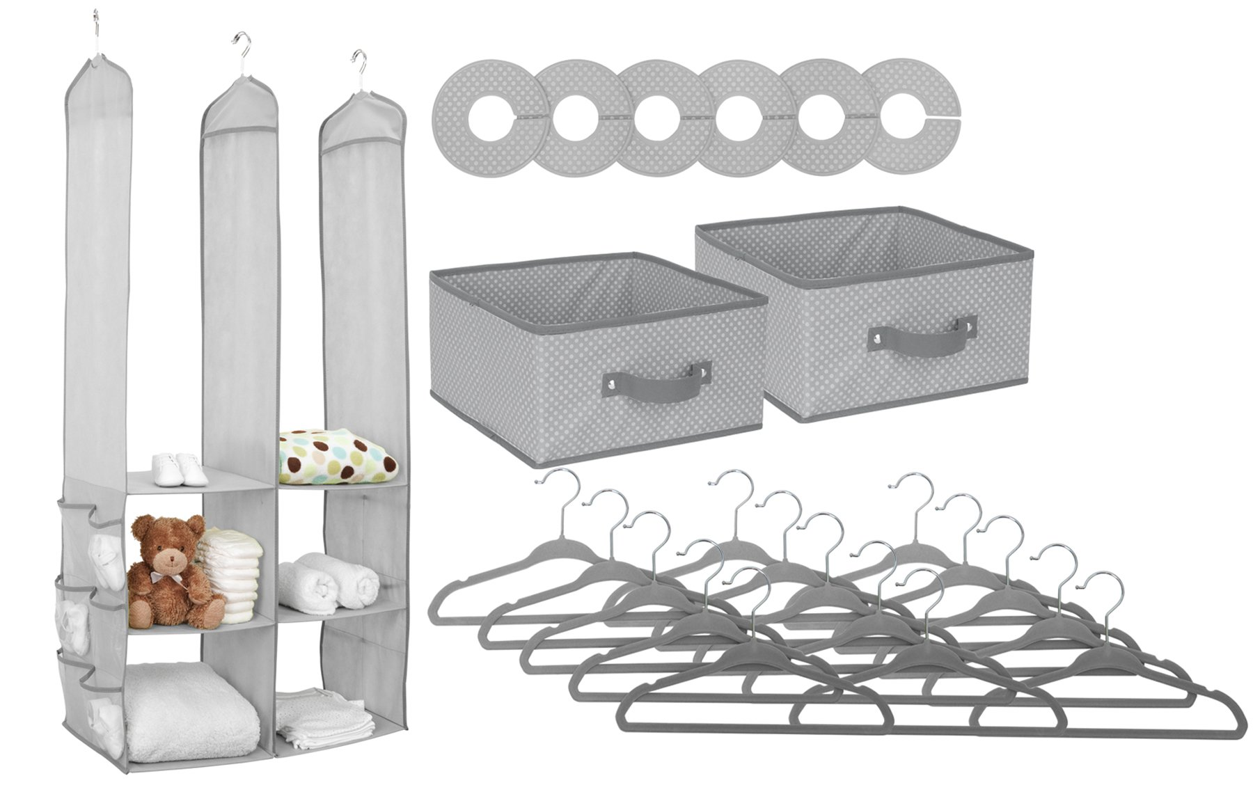 Delta Children Nursery Closet Organizer, Dove Grey, 24 Count