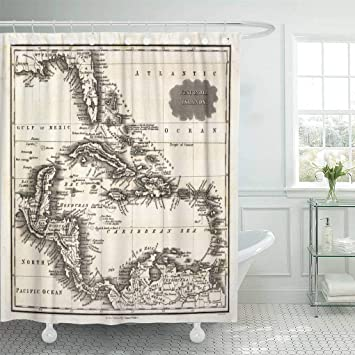 Emvency Waterproof Fabric Shower Curtain Hooks Old 1799 Antique Map Of West Indies And Caribbean Sea