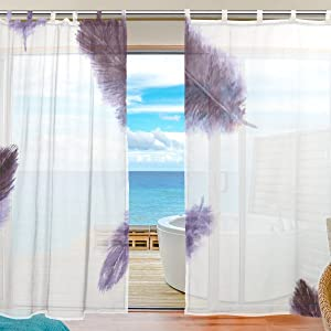 2-Piece: JSTEL Feather Pattern Print Tulle Polyester Door Voile Window Curtain Sheer Curtain Panels For Bedroom Decor Living Room Drape Two Panels Set 55x78 inch