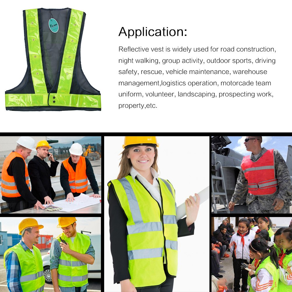Fuloon 16 LED Light Up Safety Visibility Vest With Reflective Stripes