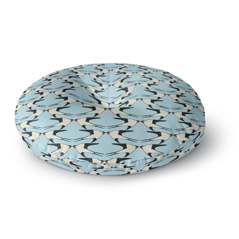 KESS InHouse Mayacoa Studio Birds Kissing Animals Digital Round Floor Pillow, 26''