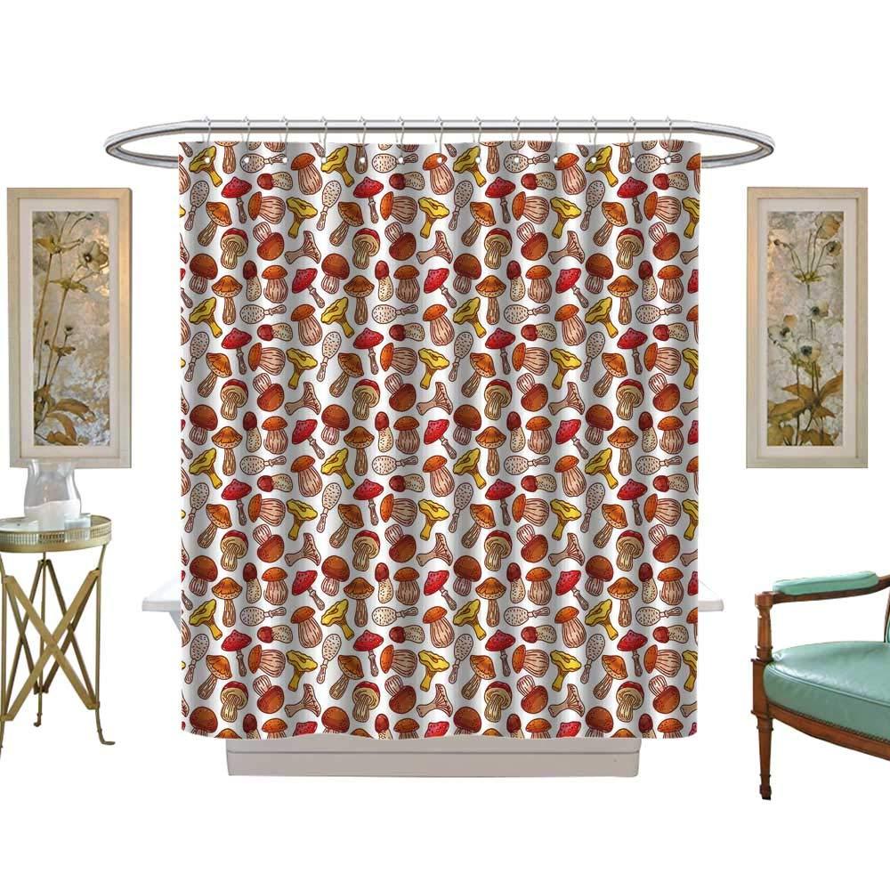 luvoluxhome シャワーカーテン ファブリック かわいいフクロウ ブランチ生地 バスルームセット フック付き W48