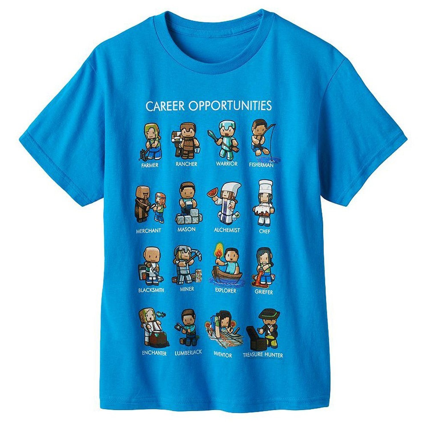 Minecraft Turquoise Career Opportunities T-shirt: Amazon.co.uk ...