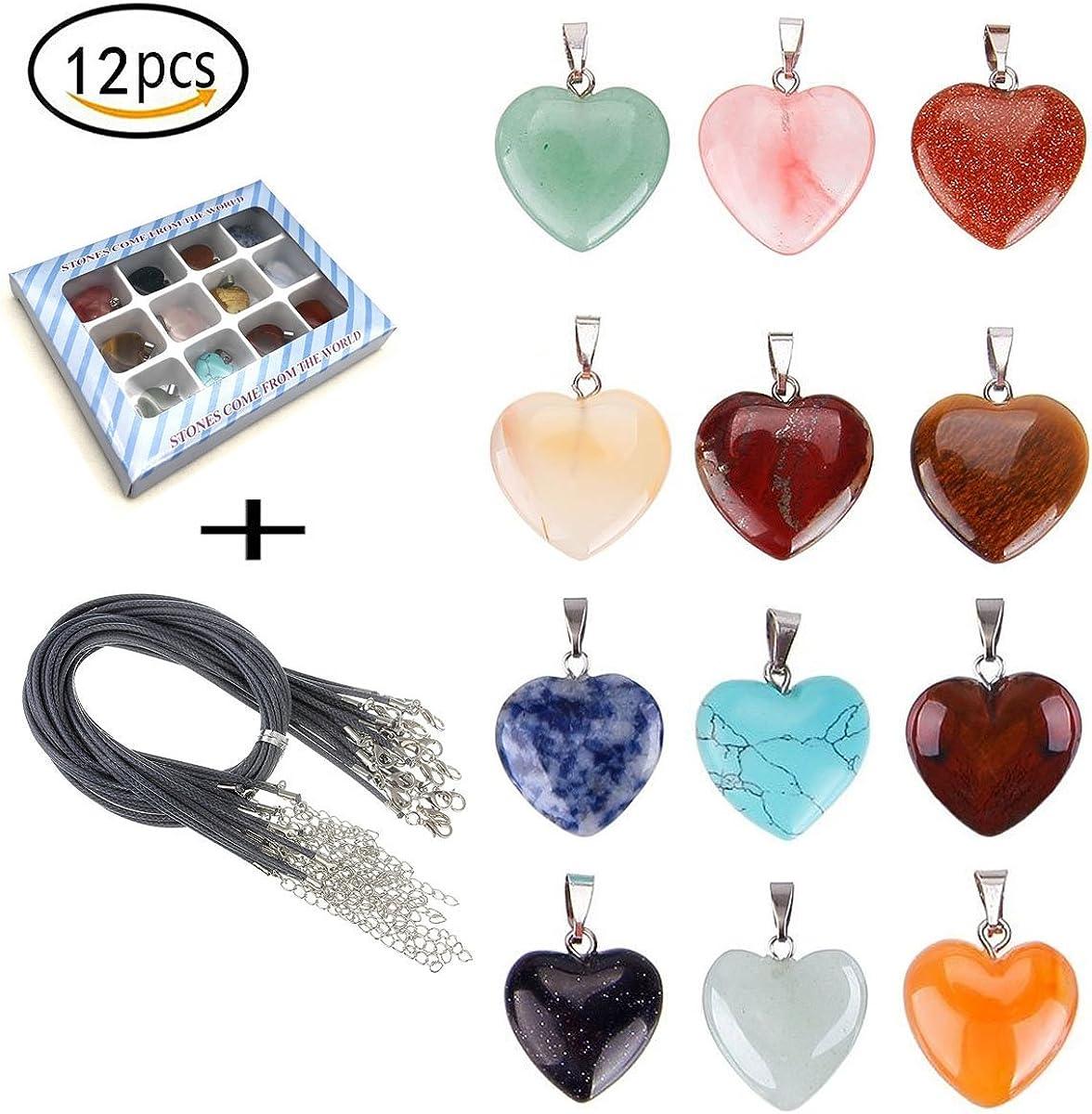 tpocean corazón collar de piedra de curación Chakra piedras de cristal para fabricación de joyería colgantes con 18pulgadas cadena de aleación de negro cordón de piel/para las mujeres niñas