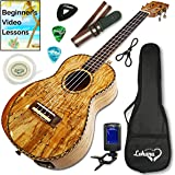 Ukulele From Lohanu Amazing Looking Spalted Maple With Armrest Glossy Finish With 3 Band EQ & Pickup With All Accessories Included! (Tenor Size) Lifetime Warranty!