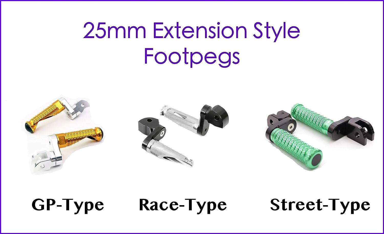 Modello FP-FRONT-F227-40MM-BK-MFP-SI Autobahn88 Repose-pieds de moto De face - RACE-Type avec 40mm-Extension Argent