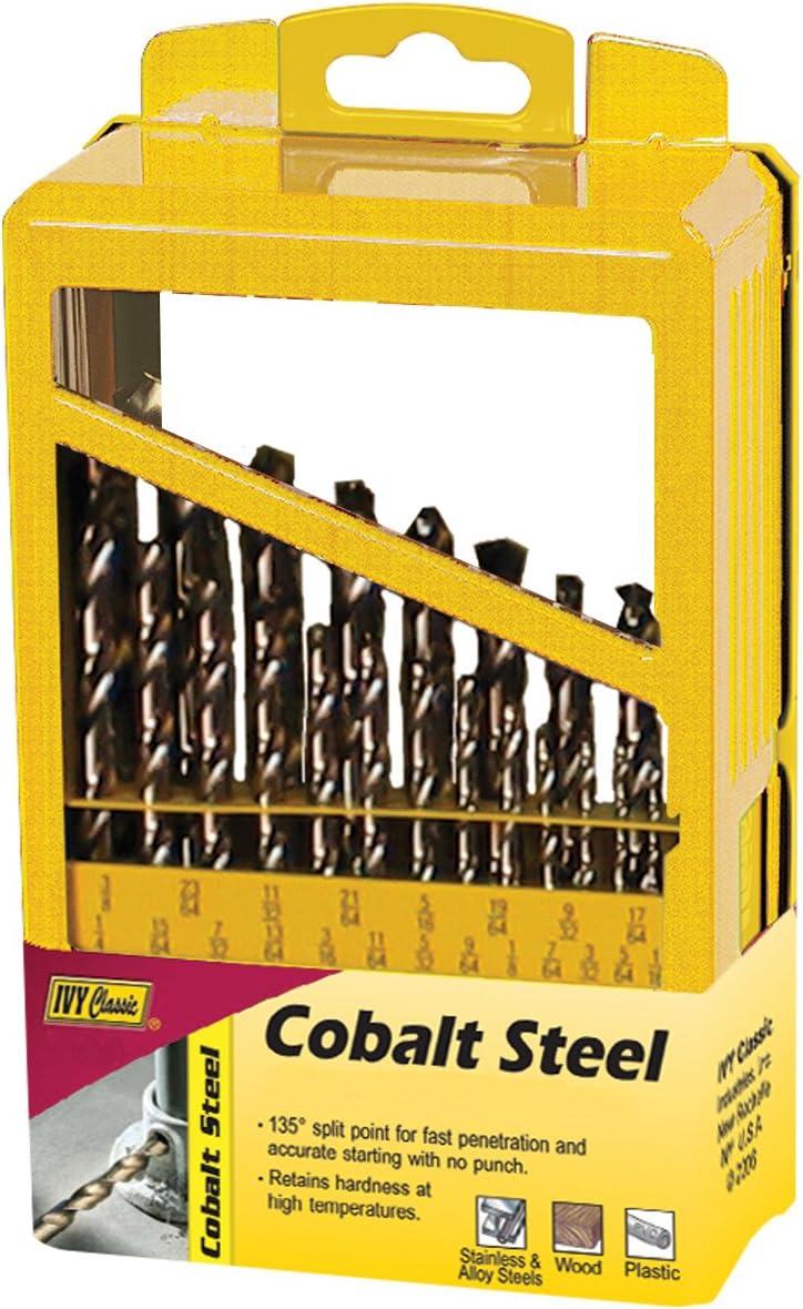 135-Degree Split Point IVY Classic 04192 12-Piece Cobalt Steel Drill Bit Set Sturdy Metal Case