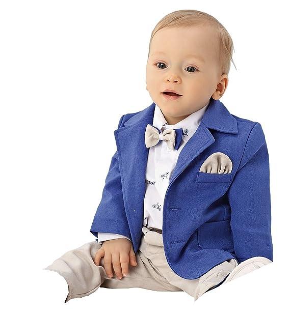 Abito da battesimo elegante in lino color blu-beige 6b27544f6e2