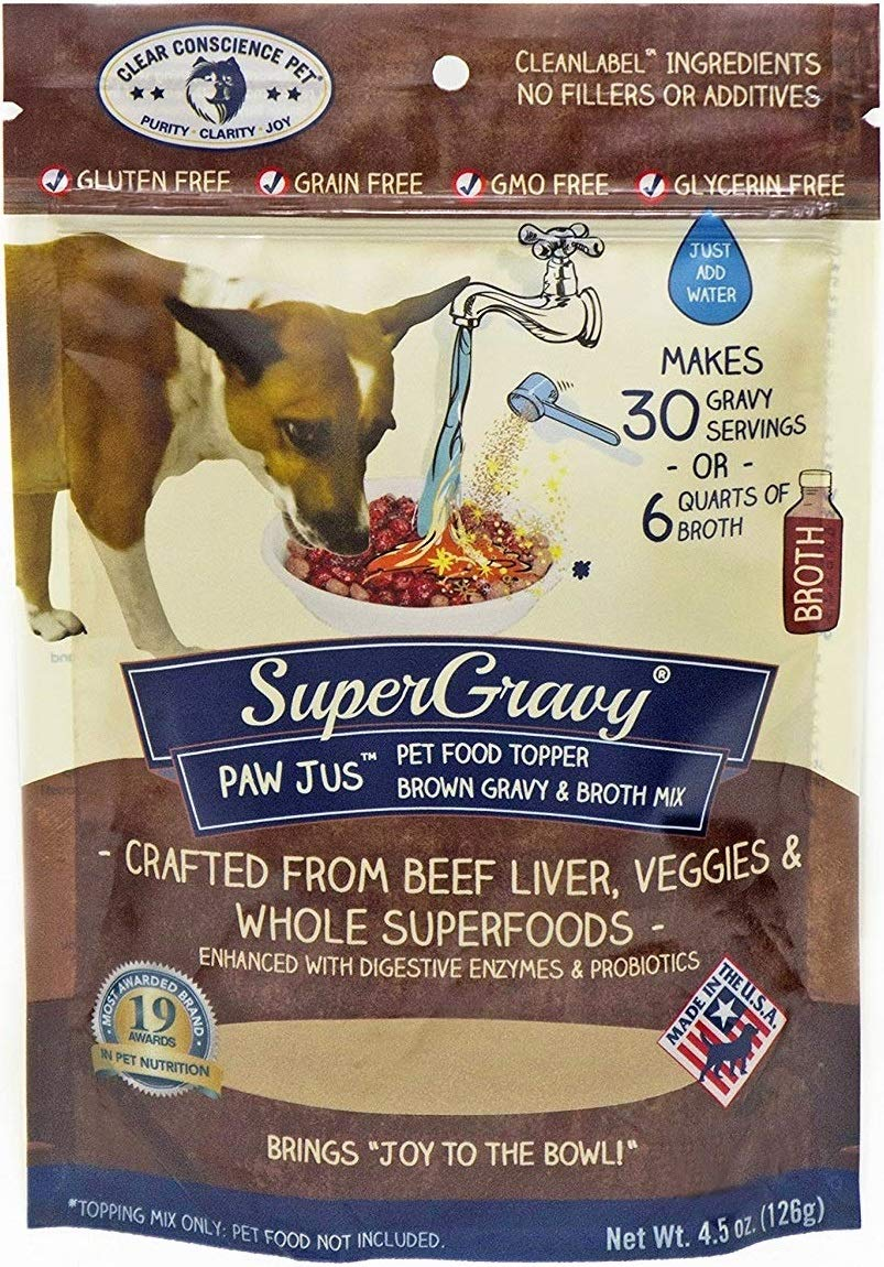 PAWjus SuperGravy - Natural Dog Food Gravy Topper - Hydration Broth Food Mix - Human Grade - Kibble Seasoning for Picky Eaters - Gluten Free & Grain Free by Clear Conscience Pet