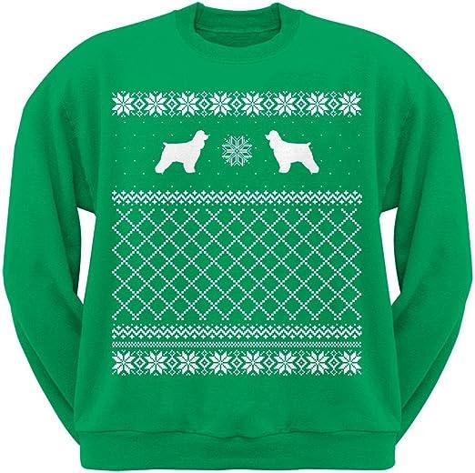 Cocker Spaniel Green Adult Ugly Christmas Sweater Crew Neck Sweatshirt